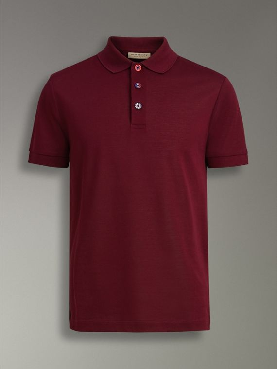 Painted Button Cotton Piqué Polo Shirt in Burgundy Red - Men | Burberry United Kingdom - cell image 3