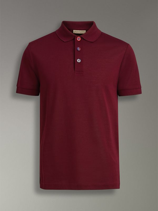 Painted Button Cotton Piqué Polo Shirt in Burgundy Red - Men | Burberry Australia - cell image 3