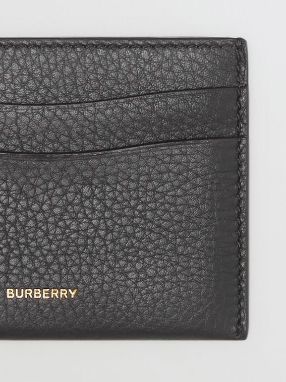 Grainy Leather Card Case in Black - Women | Burberry - cell image 1