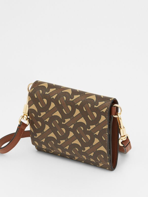 Small Monogram Print Wallet with Detachable Strap in Bridle Brown | Burberry United Kingdom - cell image 3