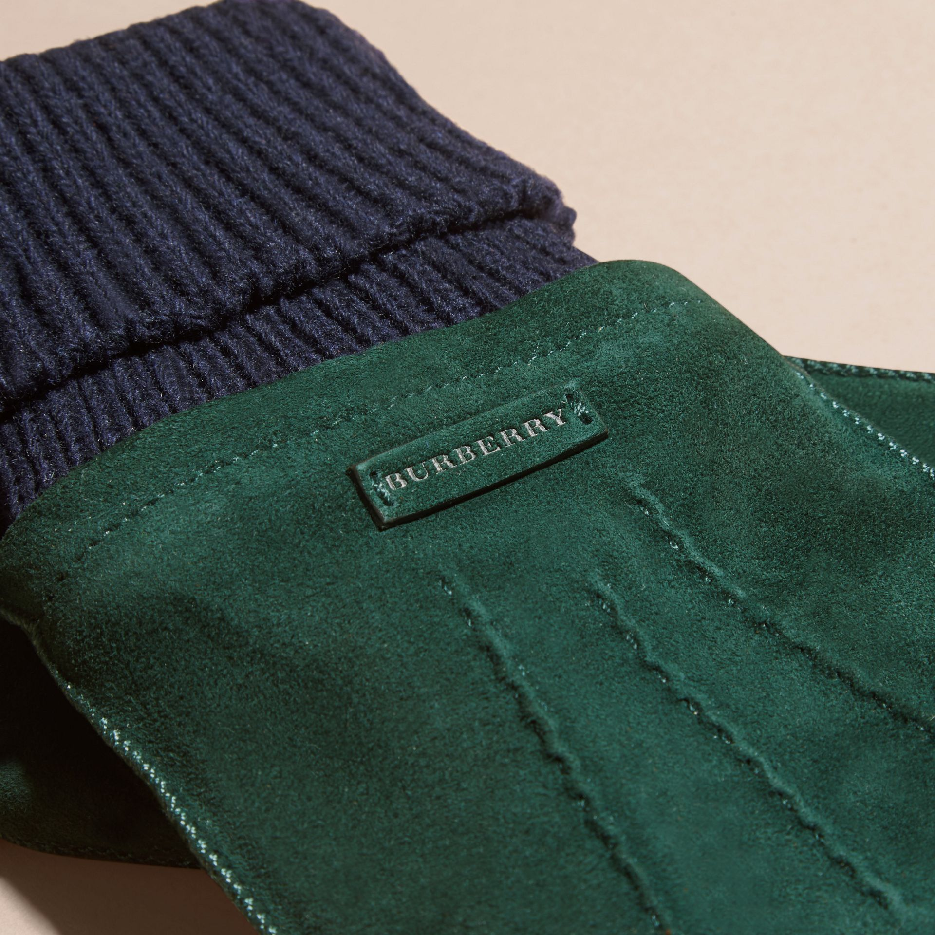 Wool Cashmere Ribbed Trim Suede Gloves in Dark Cedar Green - gallery image 2