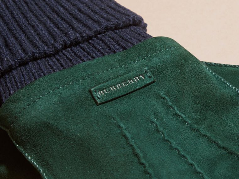 Wool Cashmere Ribbed Trim Suede Gloves in Dark Cedar Green - cell image 1