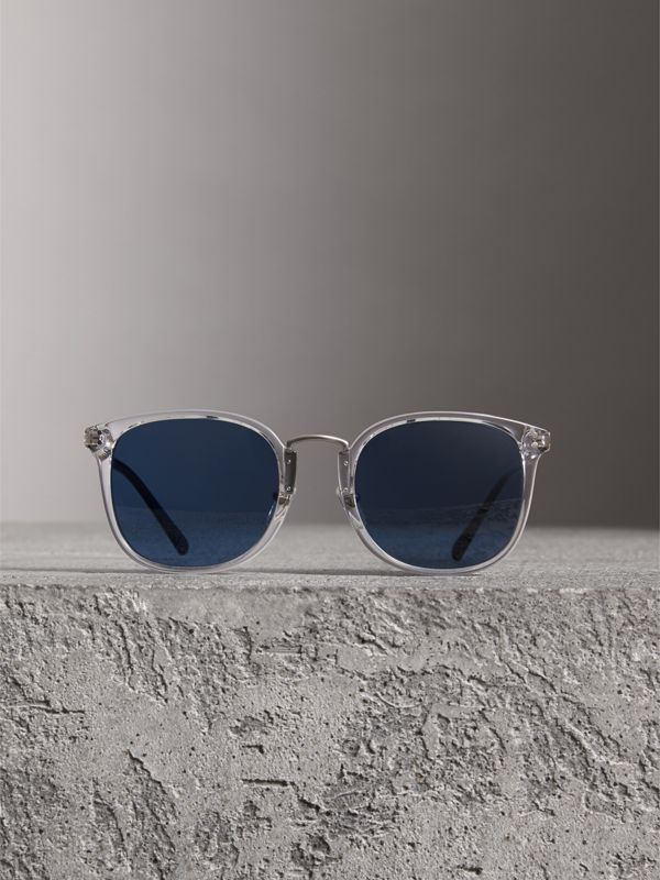 Square Frame Acetate Sunglasses in Crystal - Men | Burberry - cell image 2