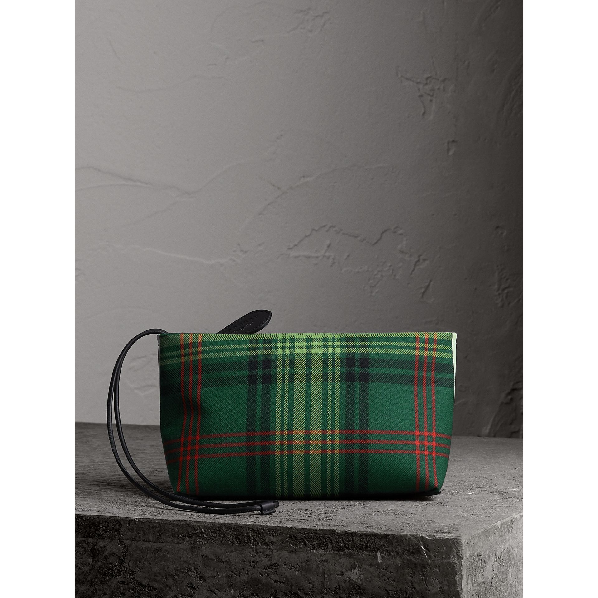 Tartan Cotton Clutch in Pine Green/blue | Burberry Singapore - gallery image 7