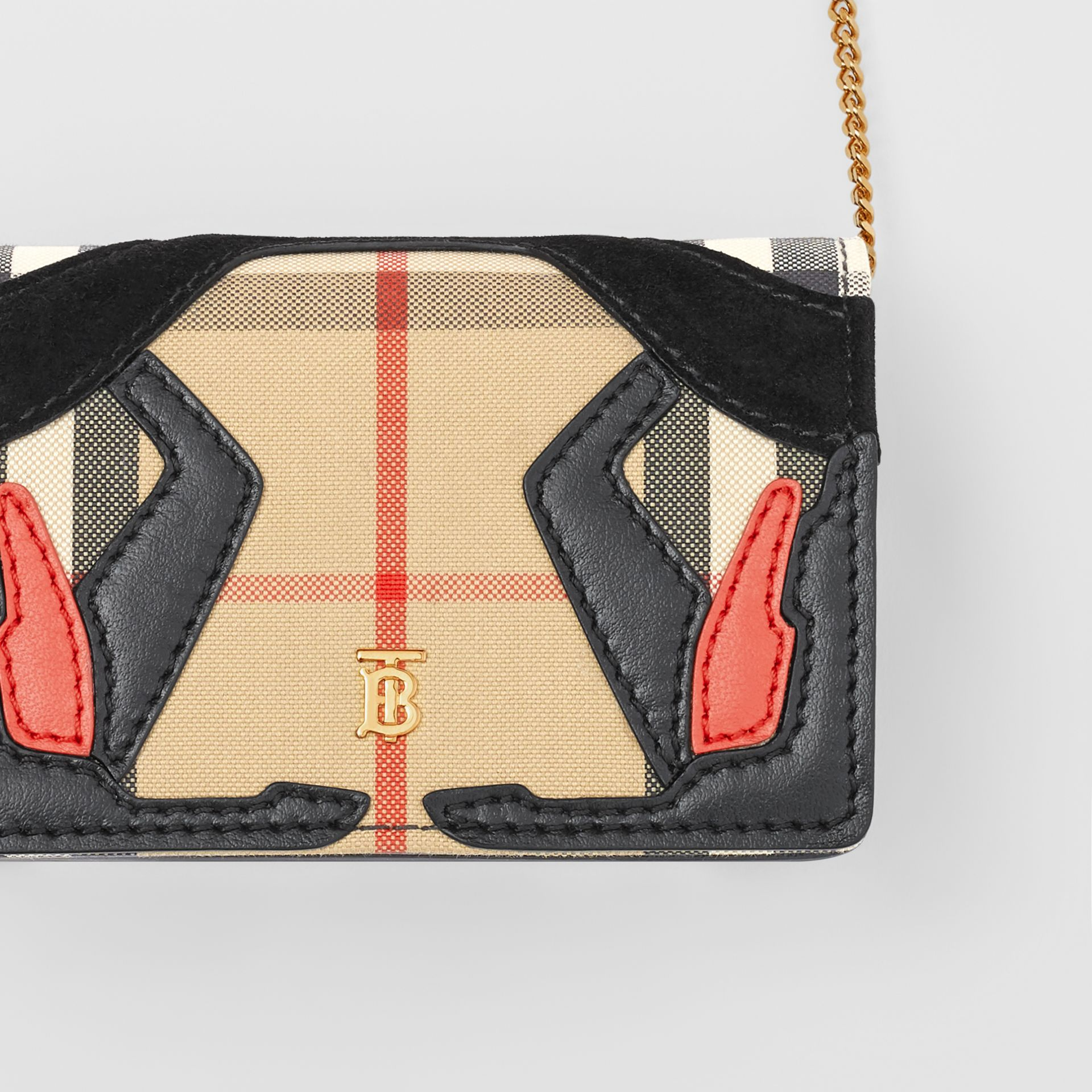 Vintage Check Canvas Card Case with Detachable Strap in Archive Beige | Burberry - gallery image 1