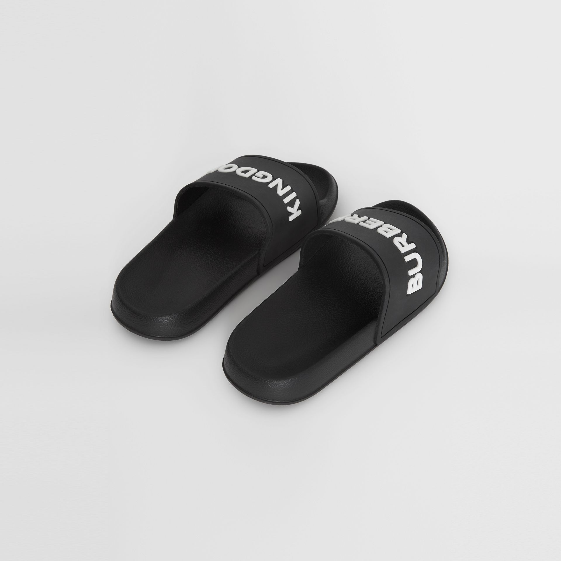 Kingdom Motif Slides in Black/optic White - Children | Burberry United Kingdom - gallery image 2