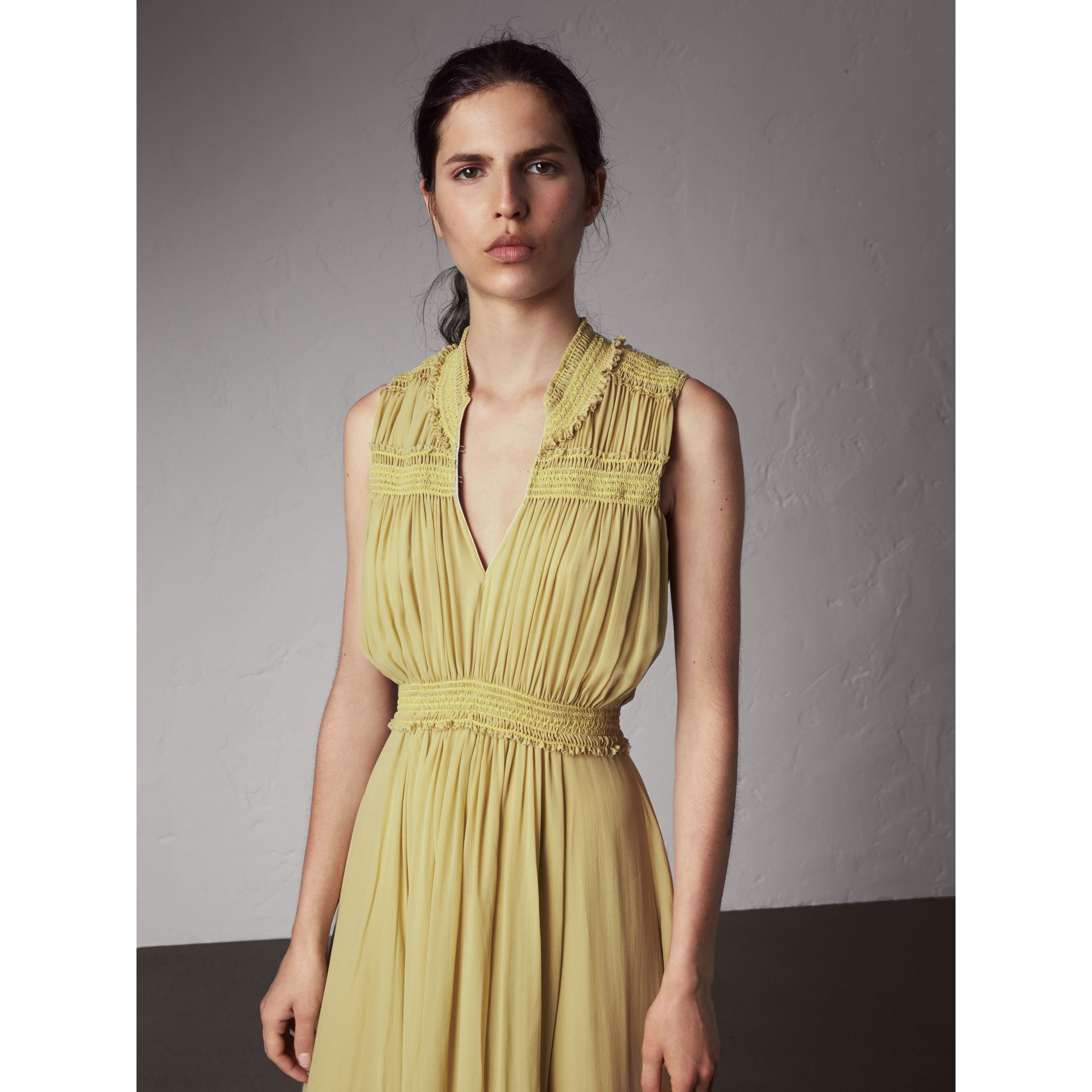Ruched Silk Georgette Dress - Women | Burberry - gallery image 6