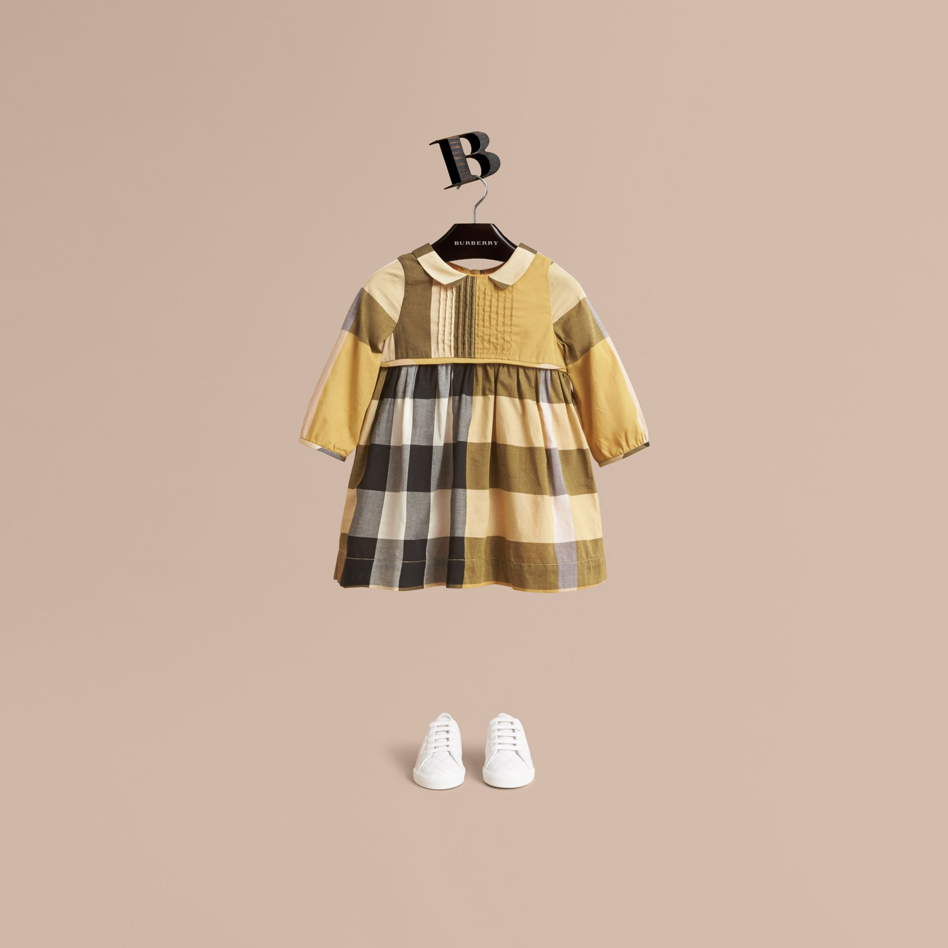 Long-sleeve Check Pintuck Bib Cotton Dress in Yellow Quartz | Burberry - gallery image 1