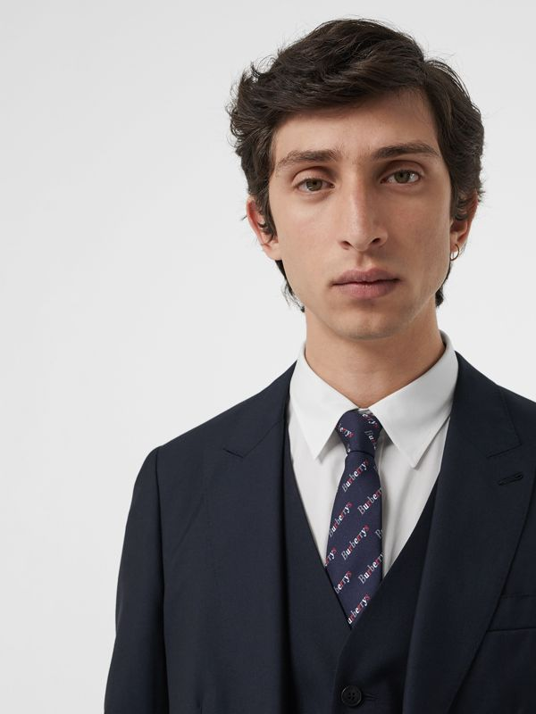 Modern Cut Archive Logo Print Silk Tie in Navy - Men | Burberry - cell image 2