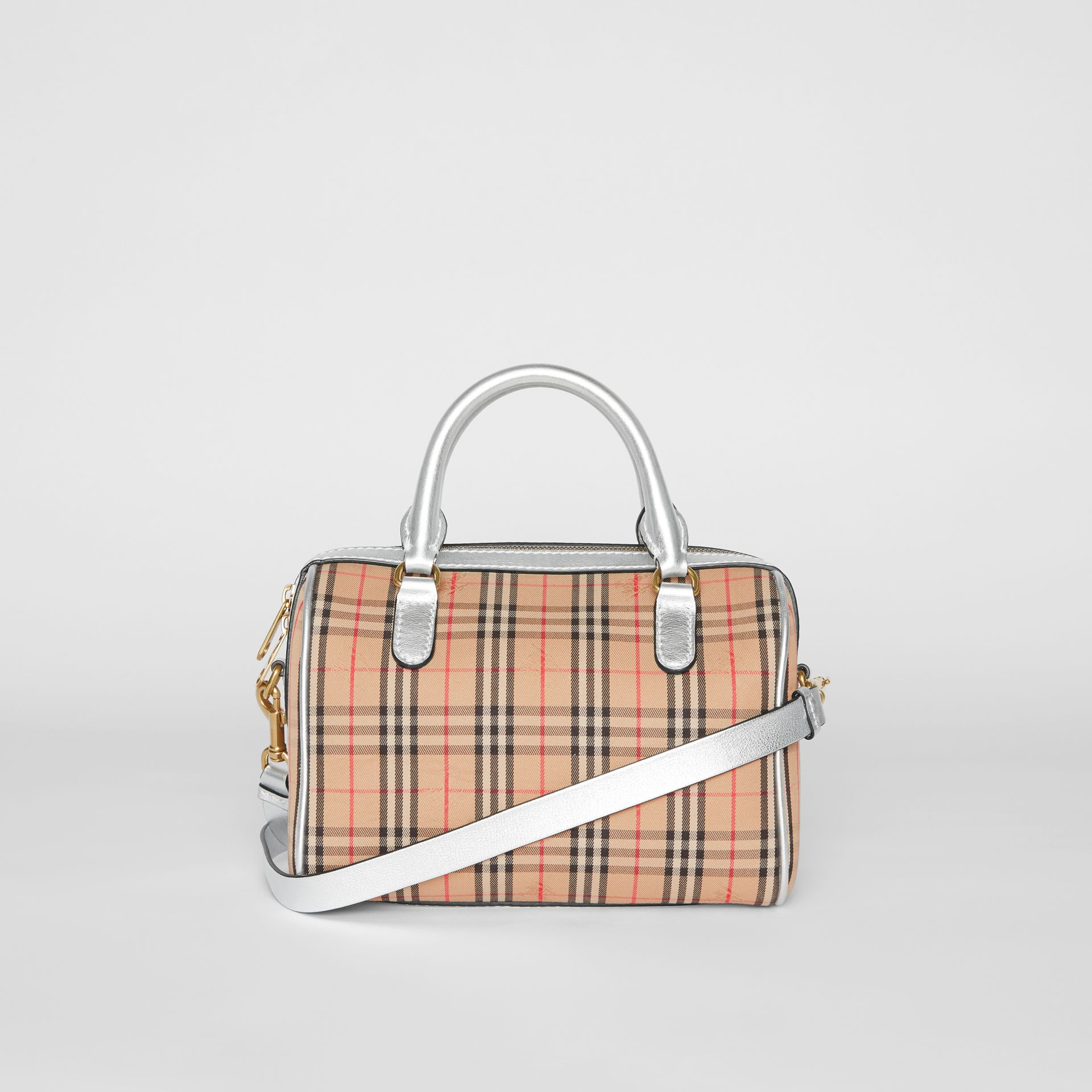 The Small 1983 Check Link Bowling Bag in Silver - Women | Burberry - gallery image 7