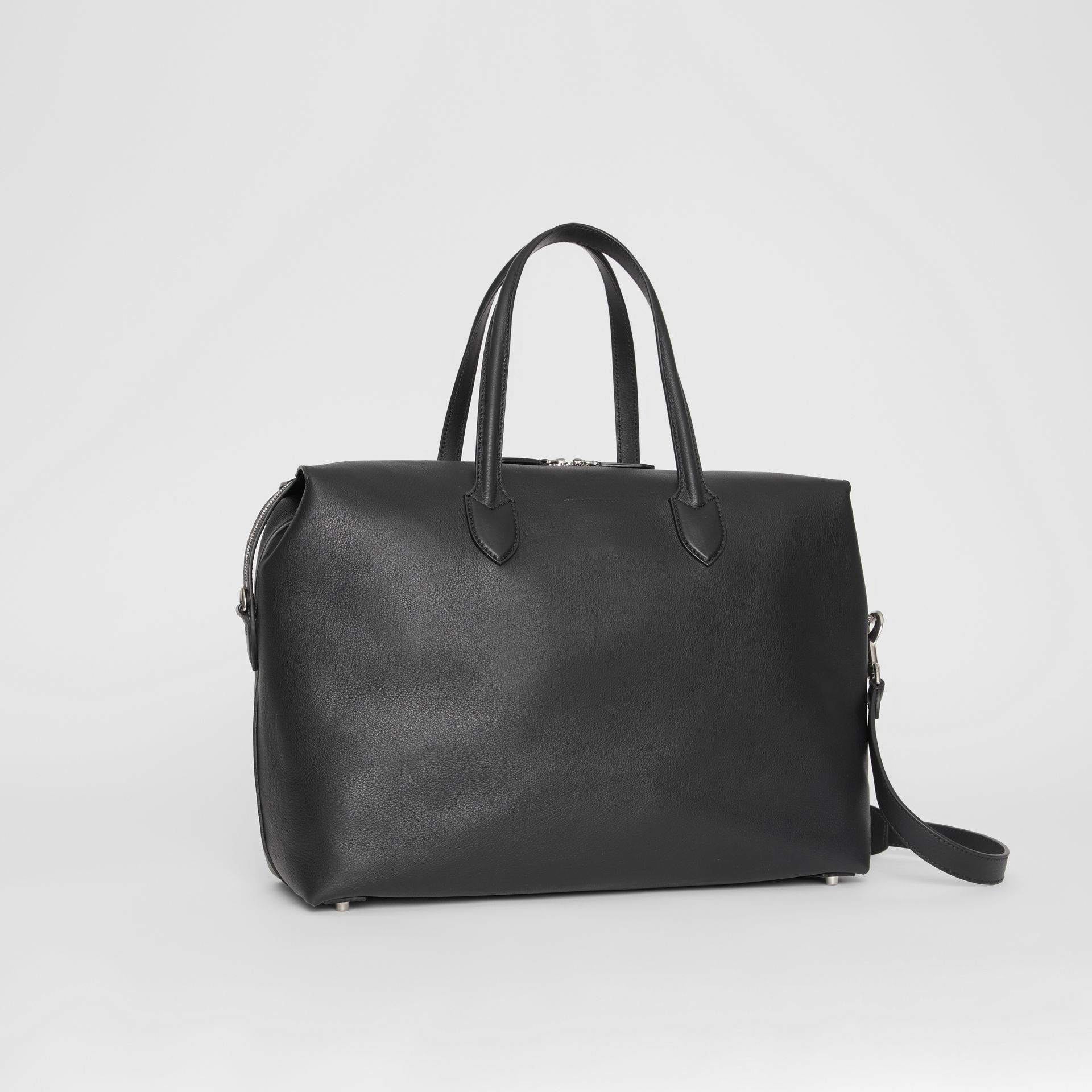 Soft Leather Holdall in Black - Men | Burberry - gallery image 6