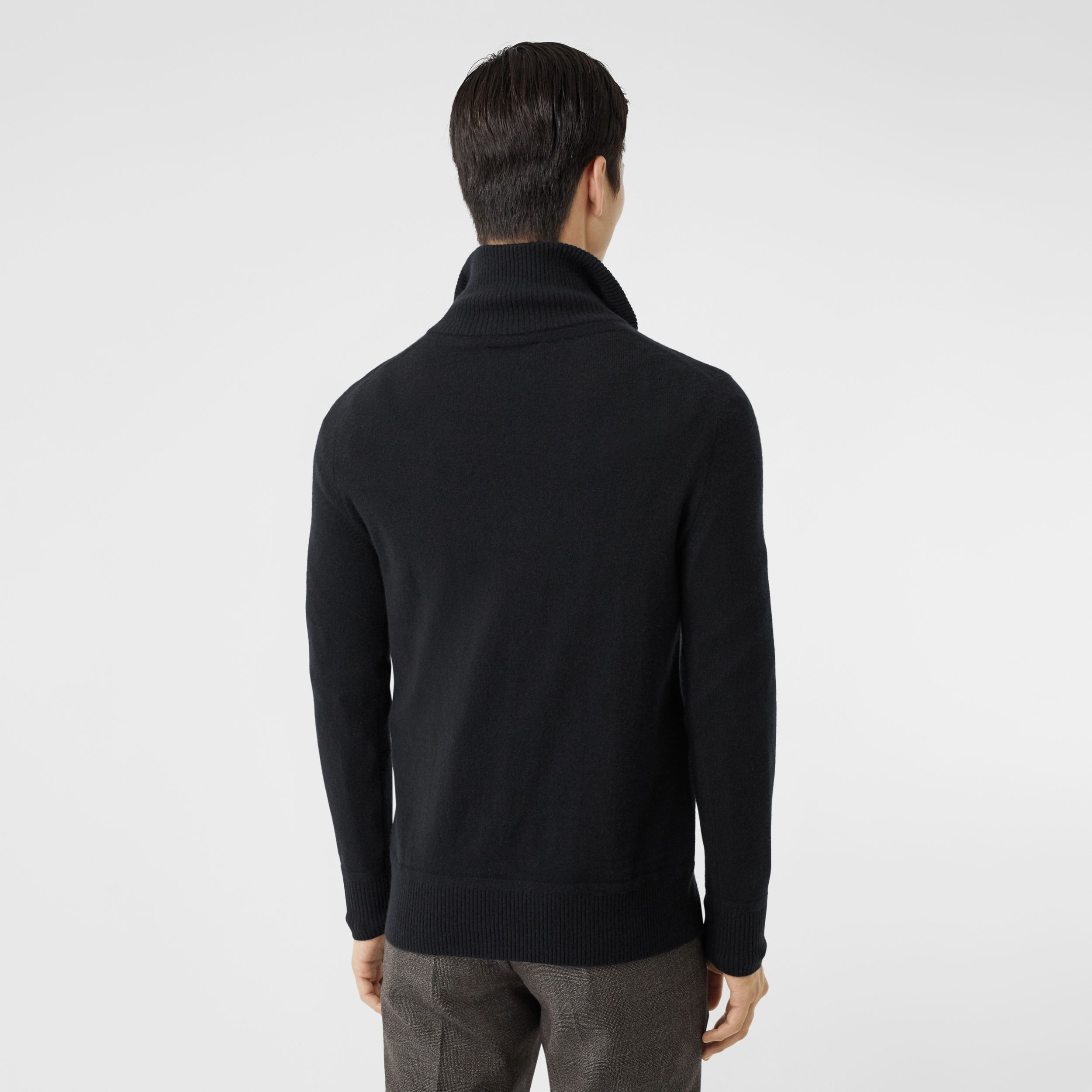 Monogram Motif Cashmere Funnel Neck Sweater in Black - Men | Burberry United Kingdom - 3