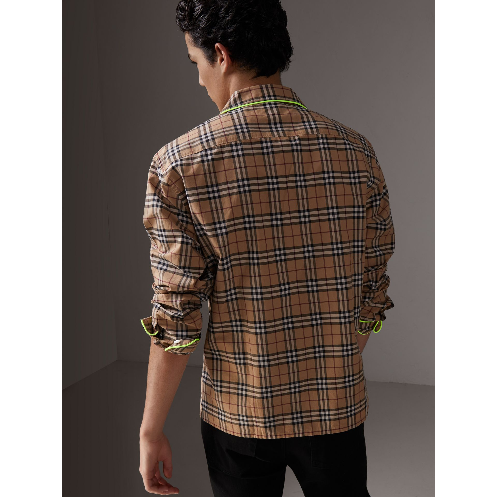 Contrast Piping Check Cotton Pyjama-style Shirt in Camel - Men | Burberry United States - gallery image 2