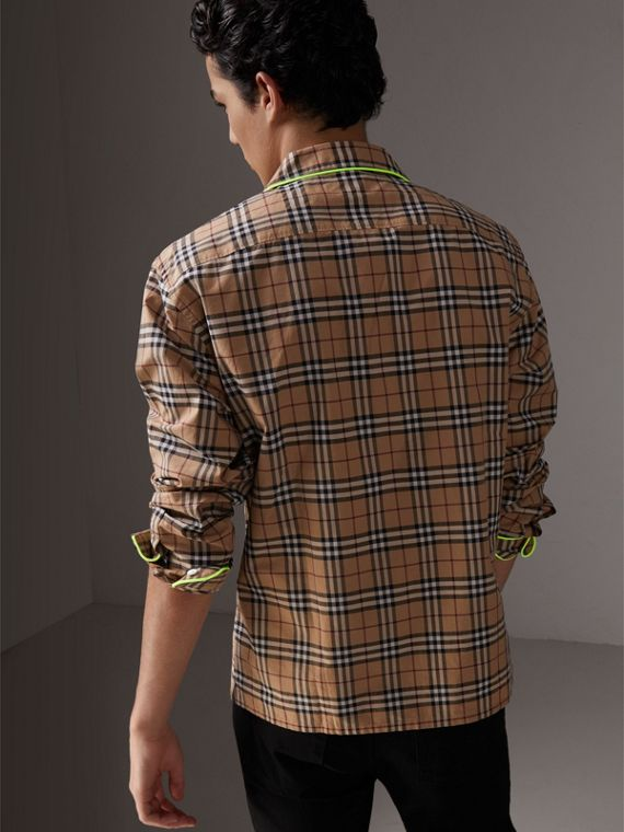 Contrast Piping Check Cotton Pyjama-style Shirt in Camel - Men | Burberry - cell image 2