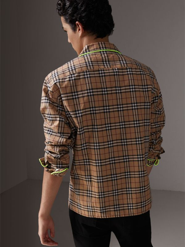Contrast Piping Check Cotton Pyjama-style Shirt in Camel | Burberry - cell image 2