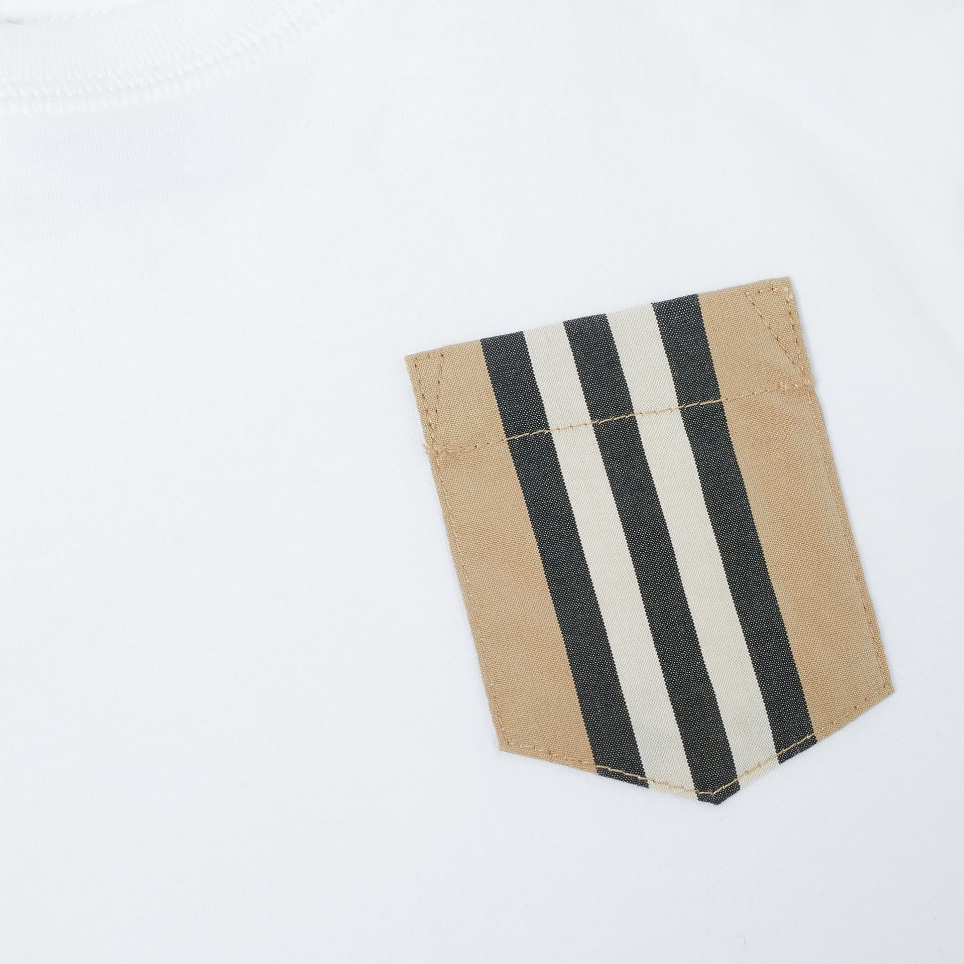 Icon Stripe Pocket Cotton T-shirt in White/archive Beige - Children | Burberry United Kingdom - gallery image 1