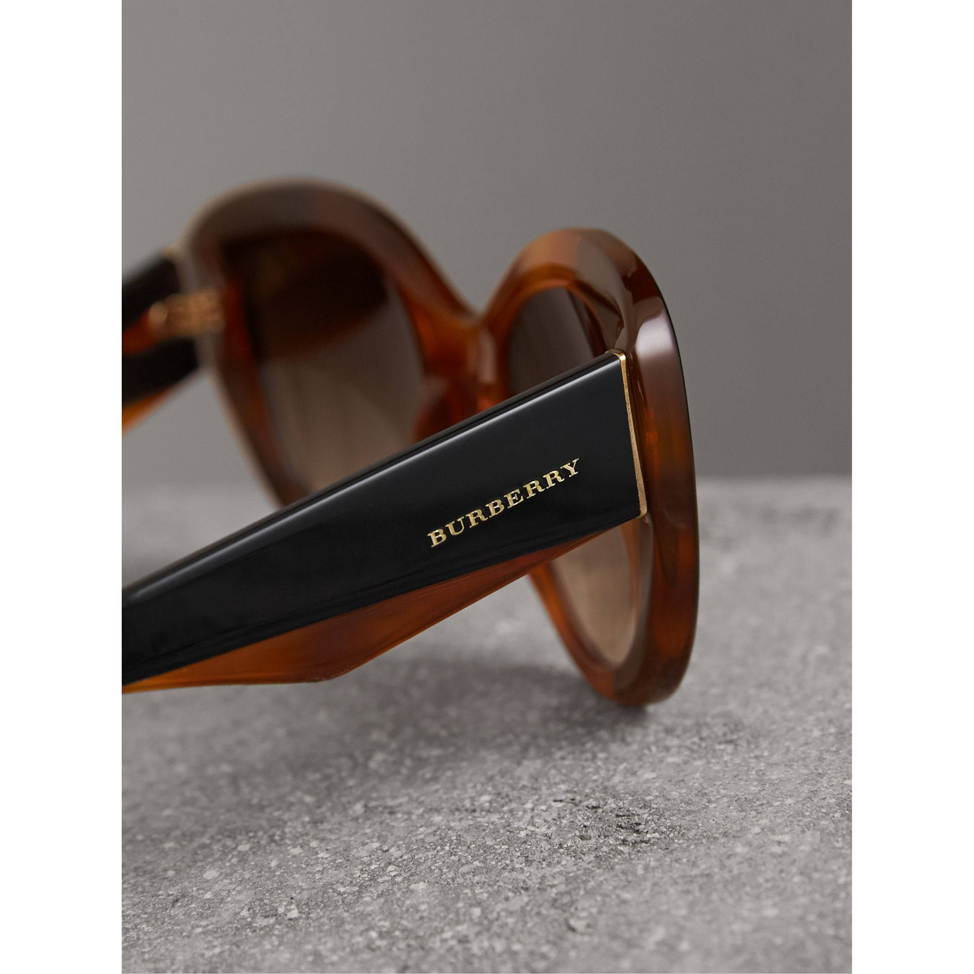 Round Frame Sunglasses in Light Brown - Women | Burberry United States - gallery image 1