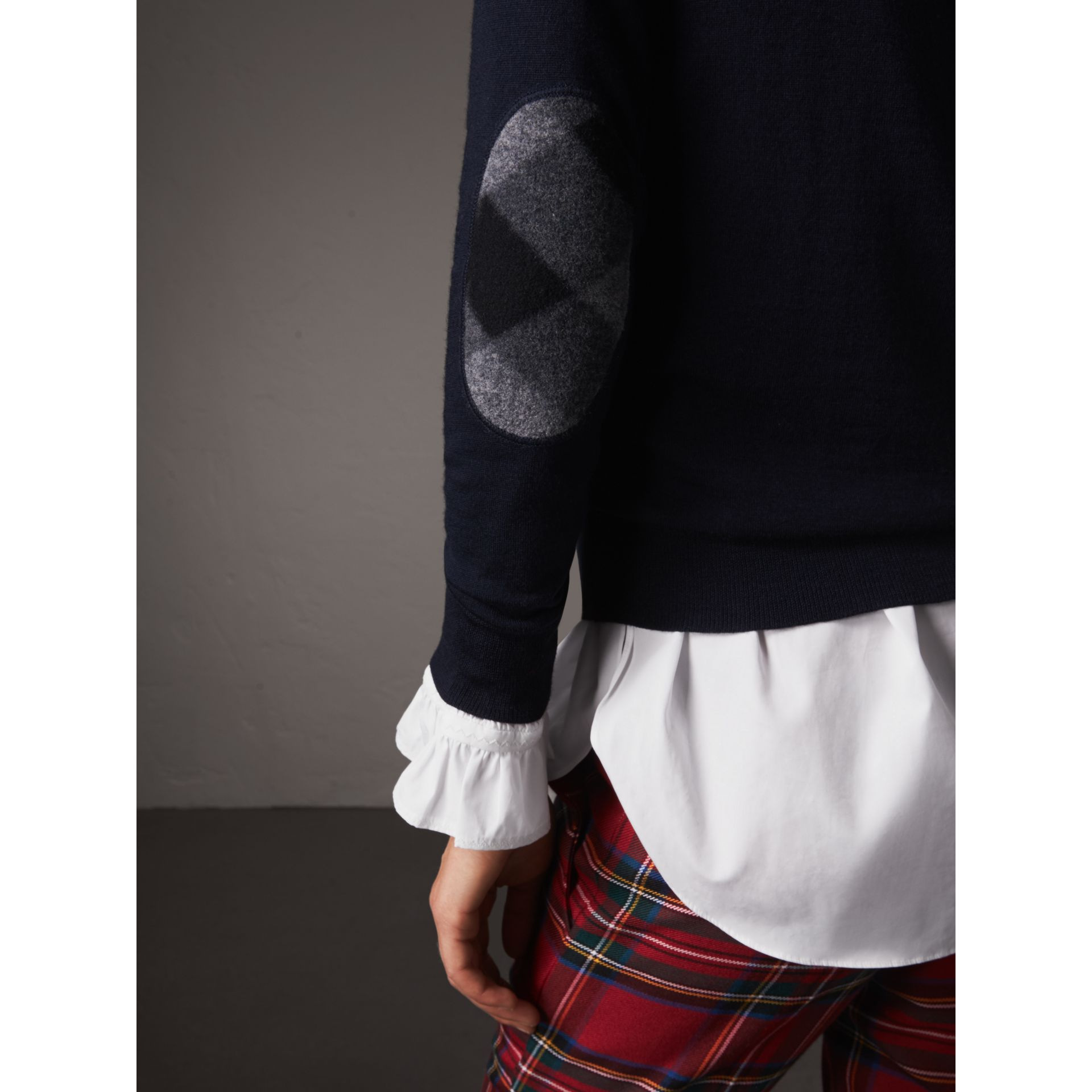 Check Detail Merino Wool Sweater in Navy - Women | Burberry - gallery image 1