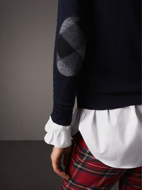 Check Detail Merino Wool Sweater in Navy - Women | Burberry - cell image 1