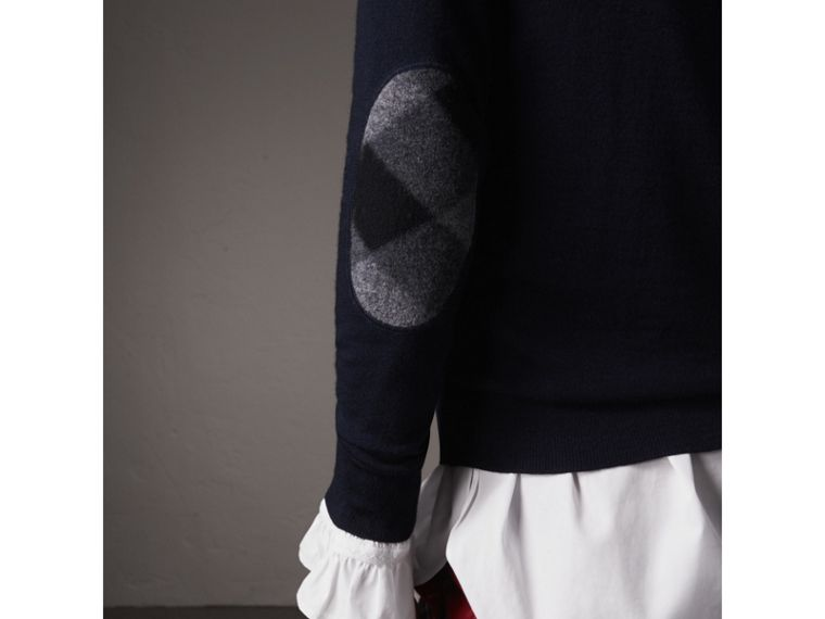 Check Detail Merino Wool Sweater in Navy - Women | Burberry Australia - cell image 1