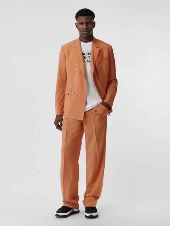 Slim Fit Press-stud Wool Tailored Jacket in Orange