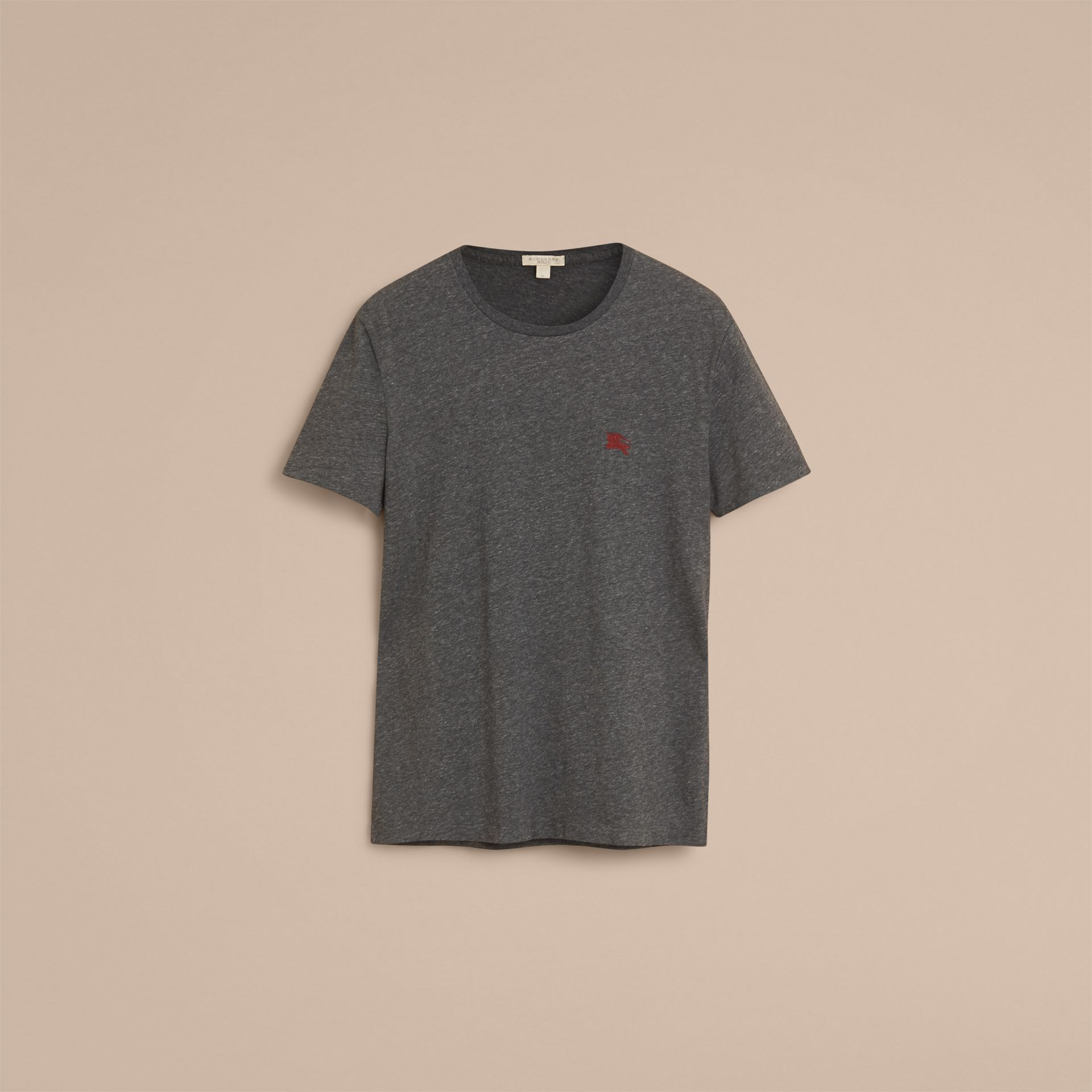 Cotton Jersey T-shirt in Dark Grey Melange - Men | Burberry - gallery image 4