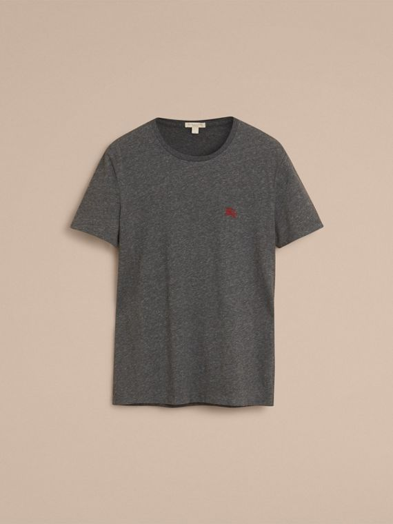 Cotton Jersey T-shirt in Dark Grey Melange - cell image 3