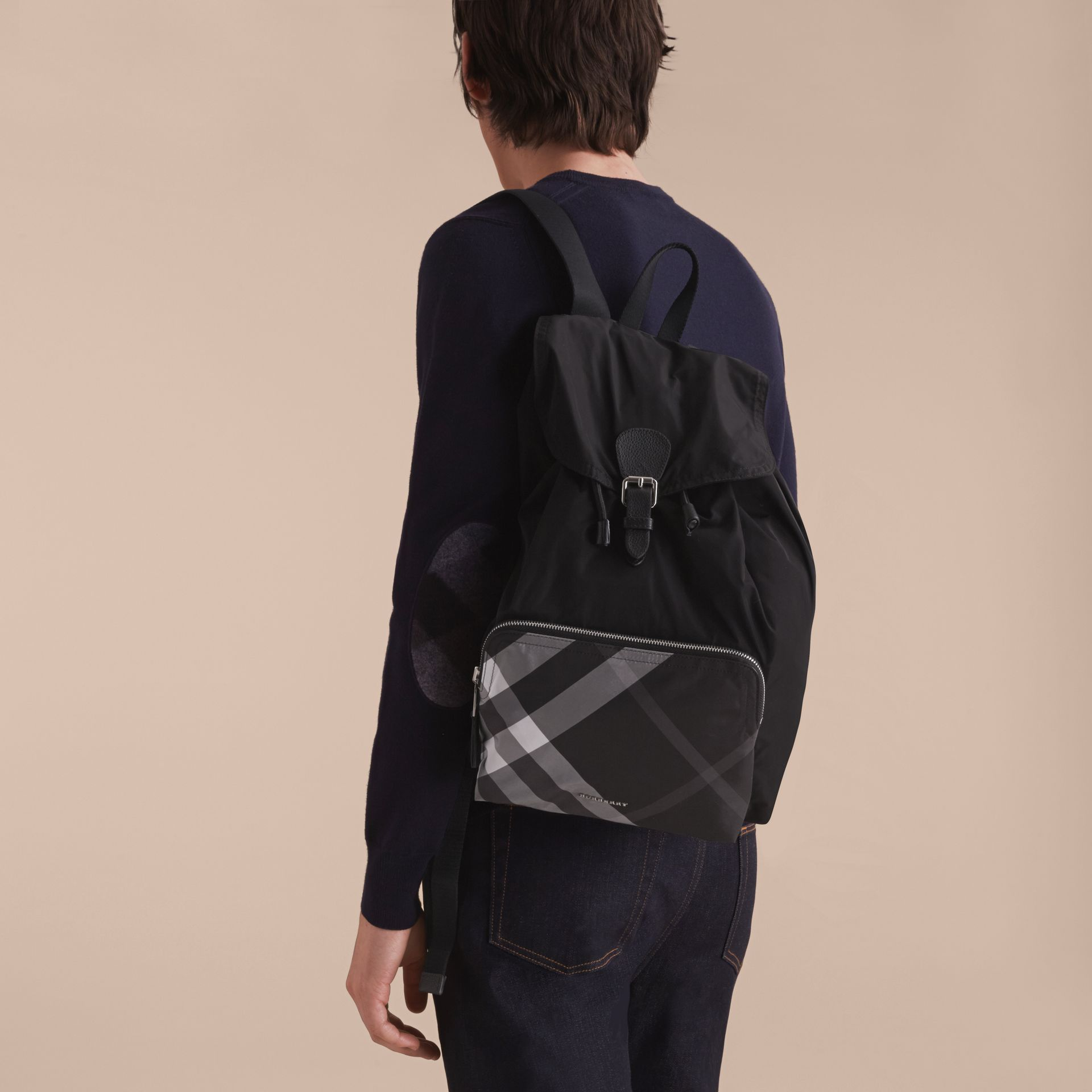 Check Detail Technical Packaway Rucksack Black - gallery image 3
