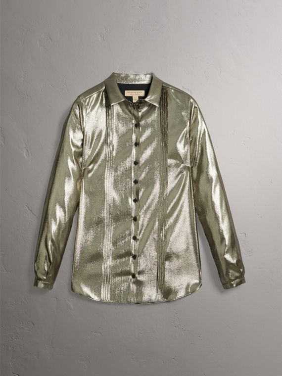 Pintuck Detail Silk Lamé Shirt in Silver - Women | Burberry Singapore - cell image 3