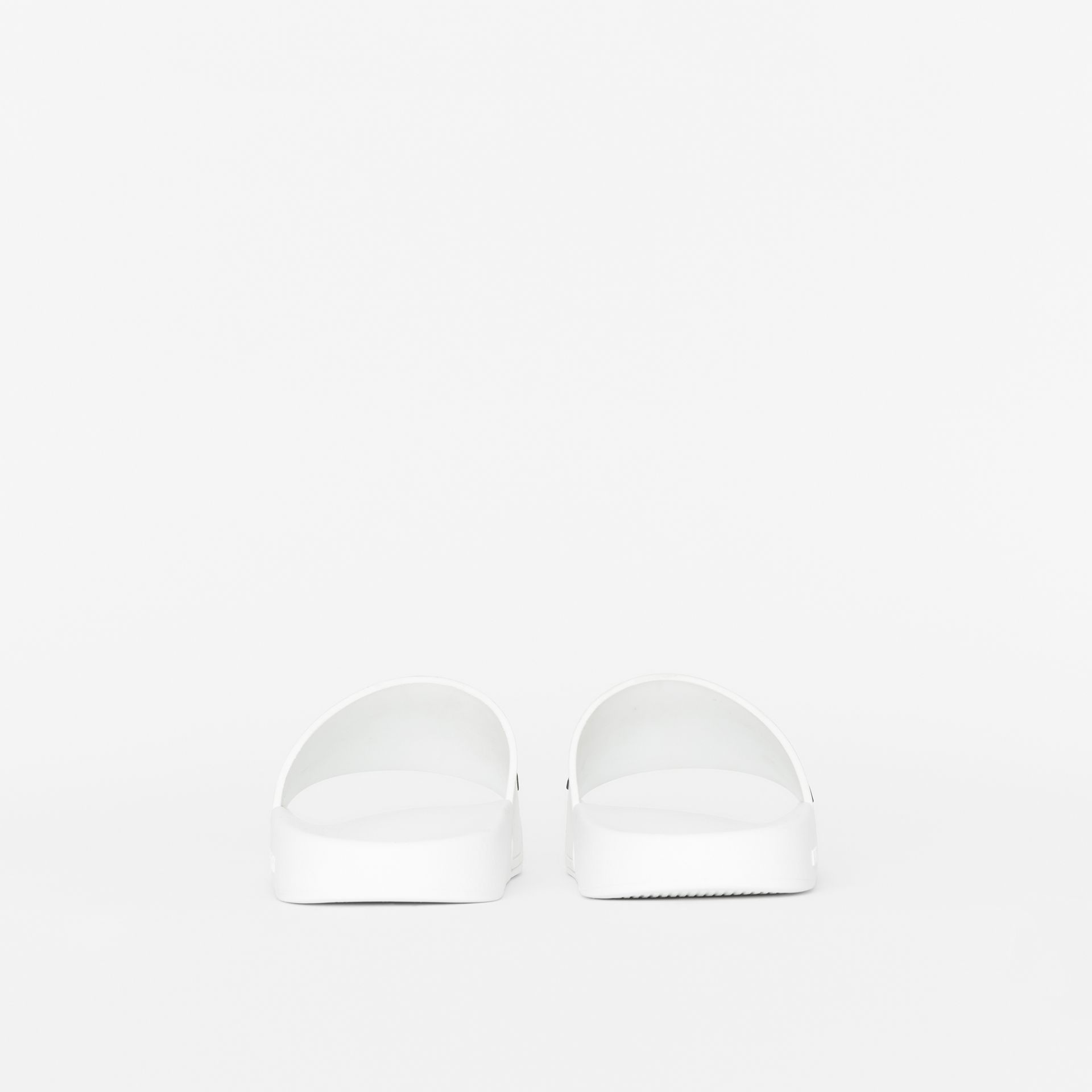 Kingdom Motif Slides in Optic White - Women | Burberry Australia - gallery image 3