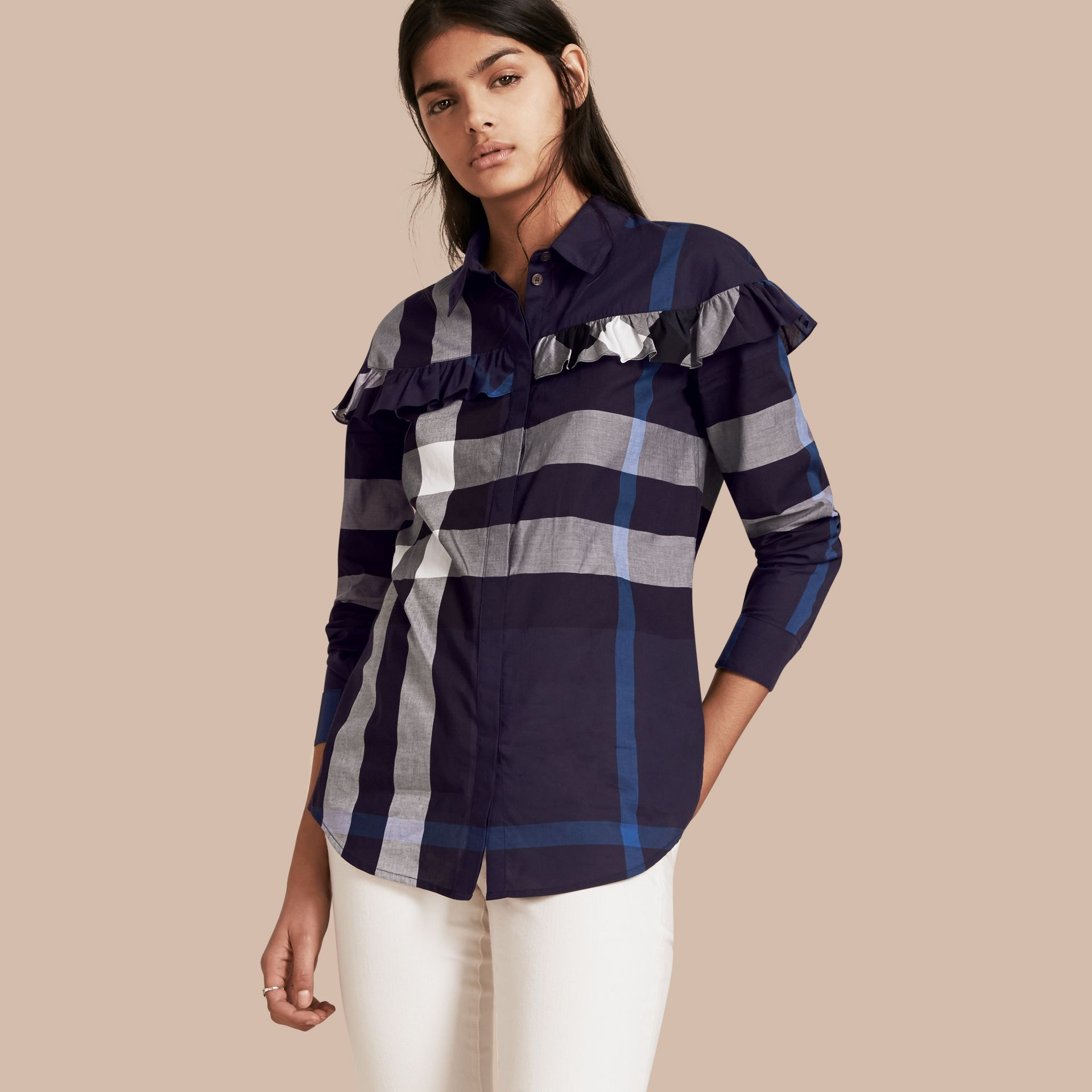 Navy Check Cotton Frill Detail Shirt Navy - gallery image 1