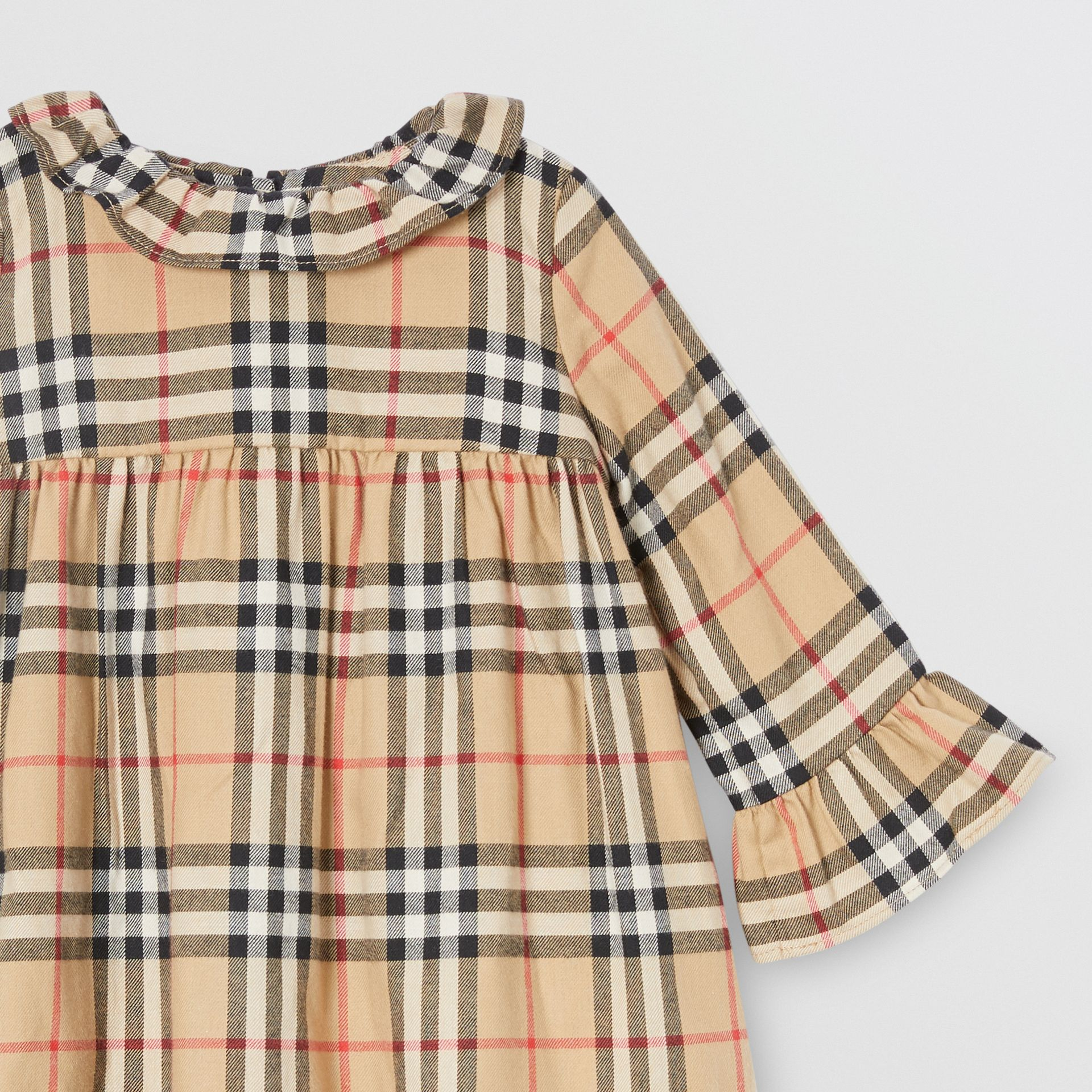 Long-sleeve Vintage Check Cotton Flannel Dress in Archive Beige - Children | Burberry - gallery image 4