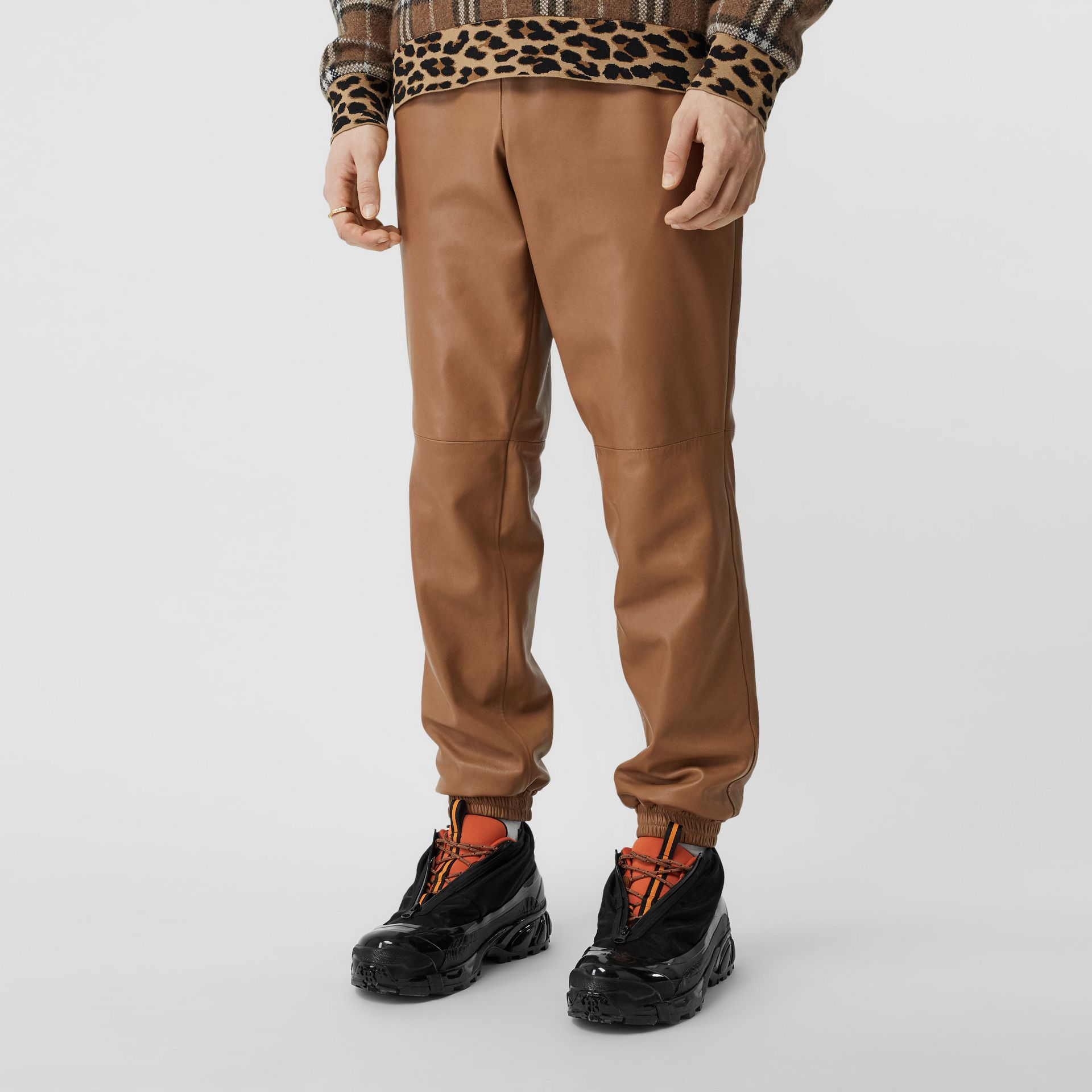 Plonge Lambskin Trackpants in Warm Walnut - Men | Burberry - gallery image 2