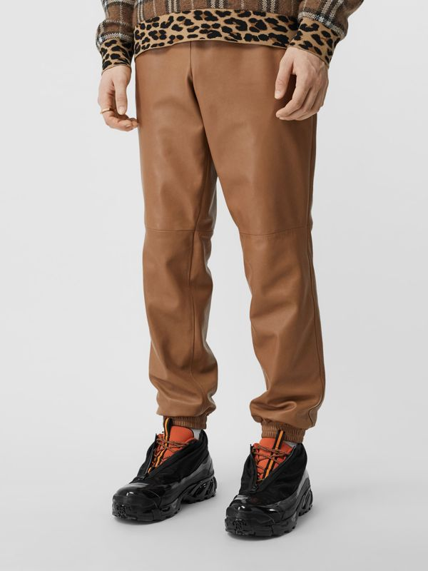 Plonge Lambskin Trackpants in Warm Walnut - Men | Burberry Hong Kong S.A.R - cell image 2