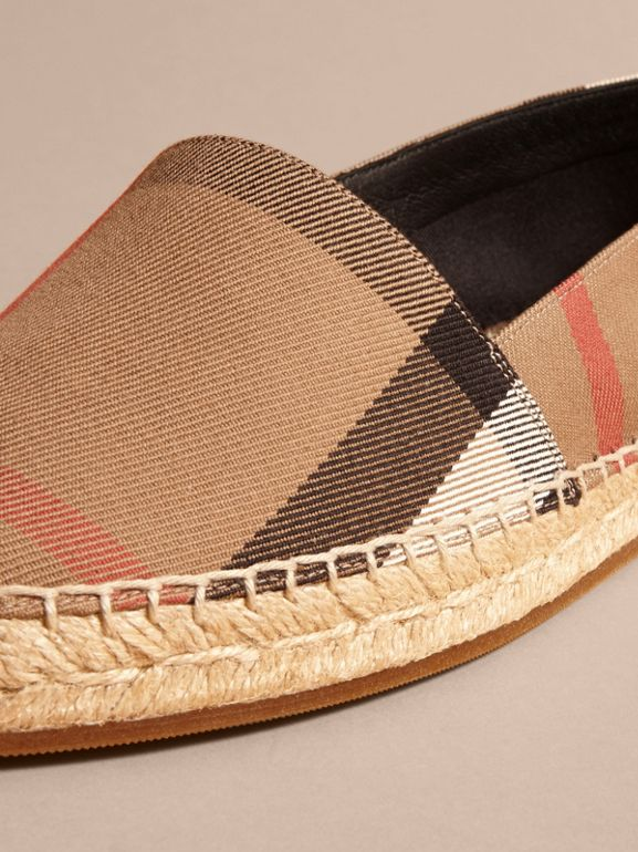 Leather Trim Canvas Check Espadrilles in Classic - Women | Burberry - cell image 1