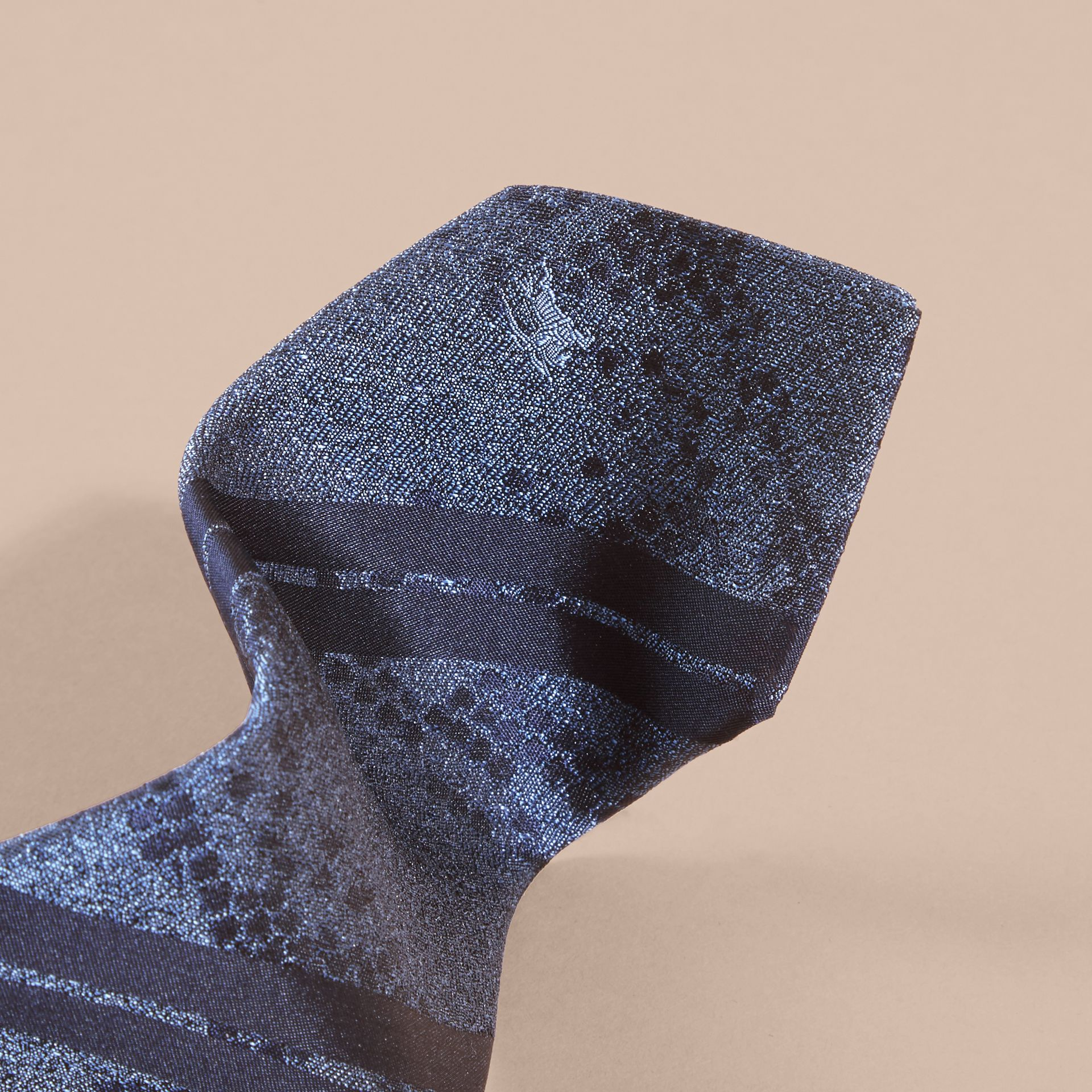 Mineral blue Modern Cut Python Jacquard Silk Tie Mineral Blue - gallery image 2