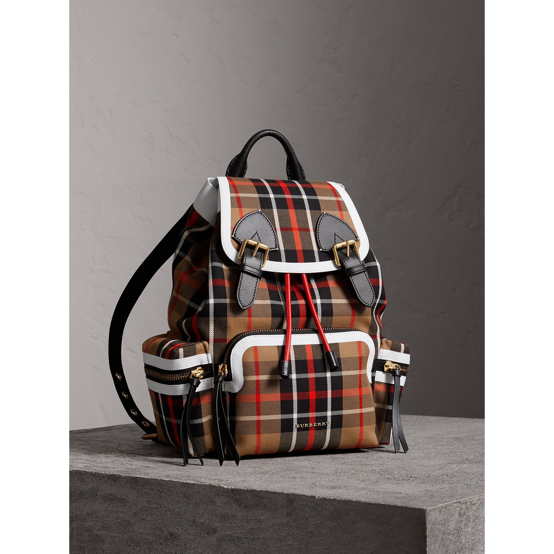 The Medium Rucksack in Check Cotton in Caramel - Women | Burberry - gallery image 0