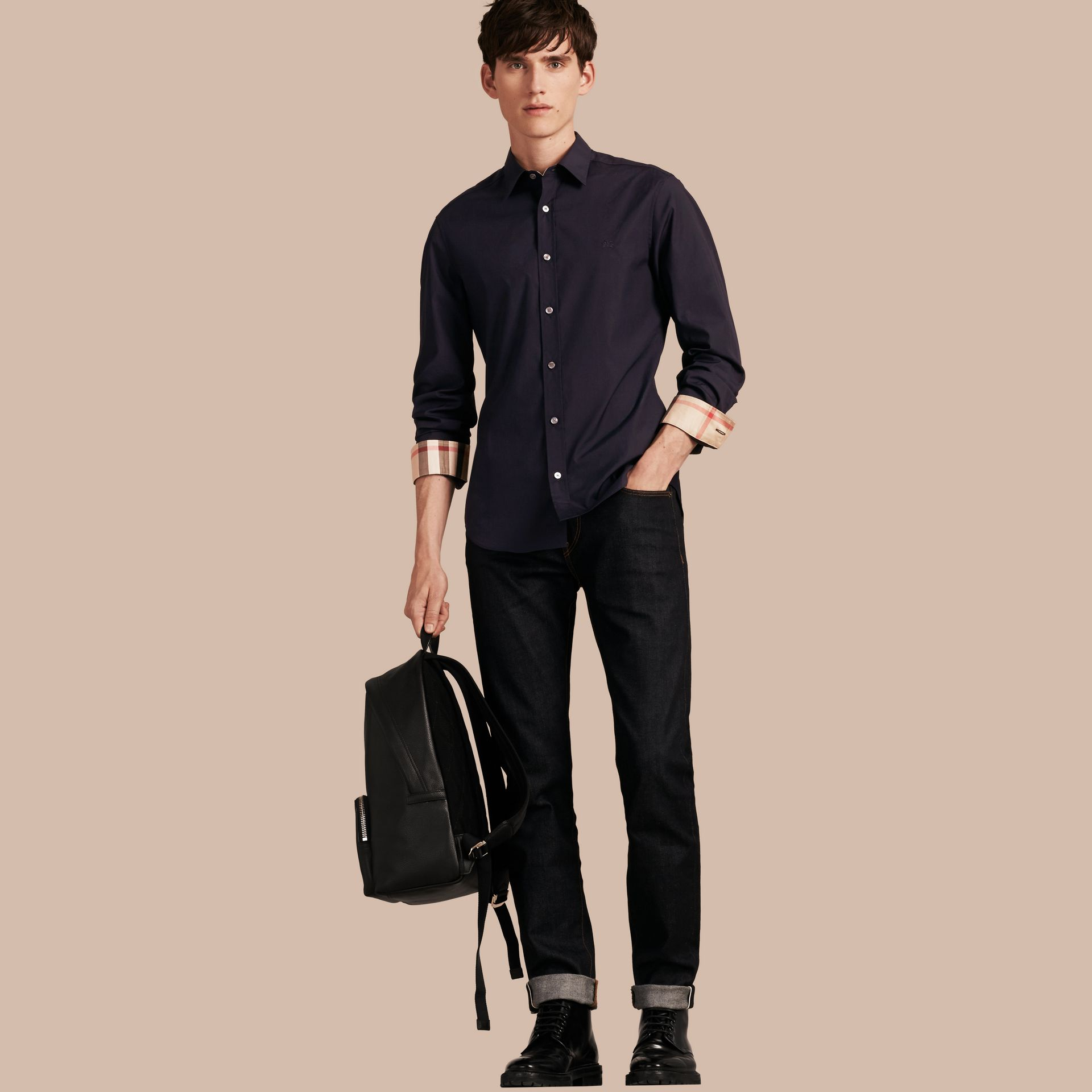 Check Detail Stretch Cotton Poplin Shirt in Navy - Men | Burberry United States - gallery image 1