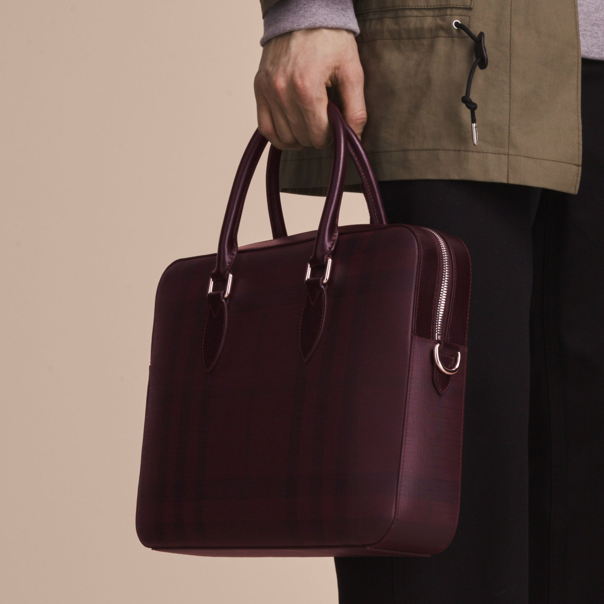 Medium Leather Trim London Check Briefcase in Deep Claret - Men | Burberry - gallery image 4