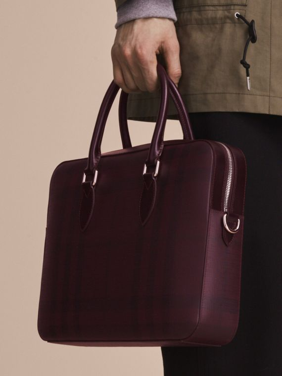 Medium Leather Trim London Check Briefcase in Deep Claret - Men | Burberry - cell image 3