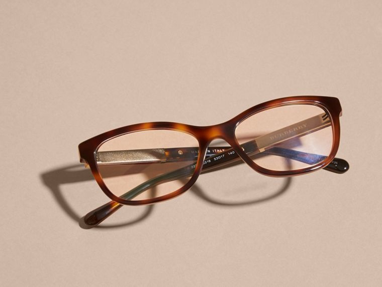 Check Detail Oval Optical Frames Light Russet Brown - cell image 4