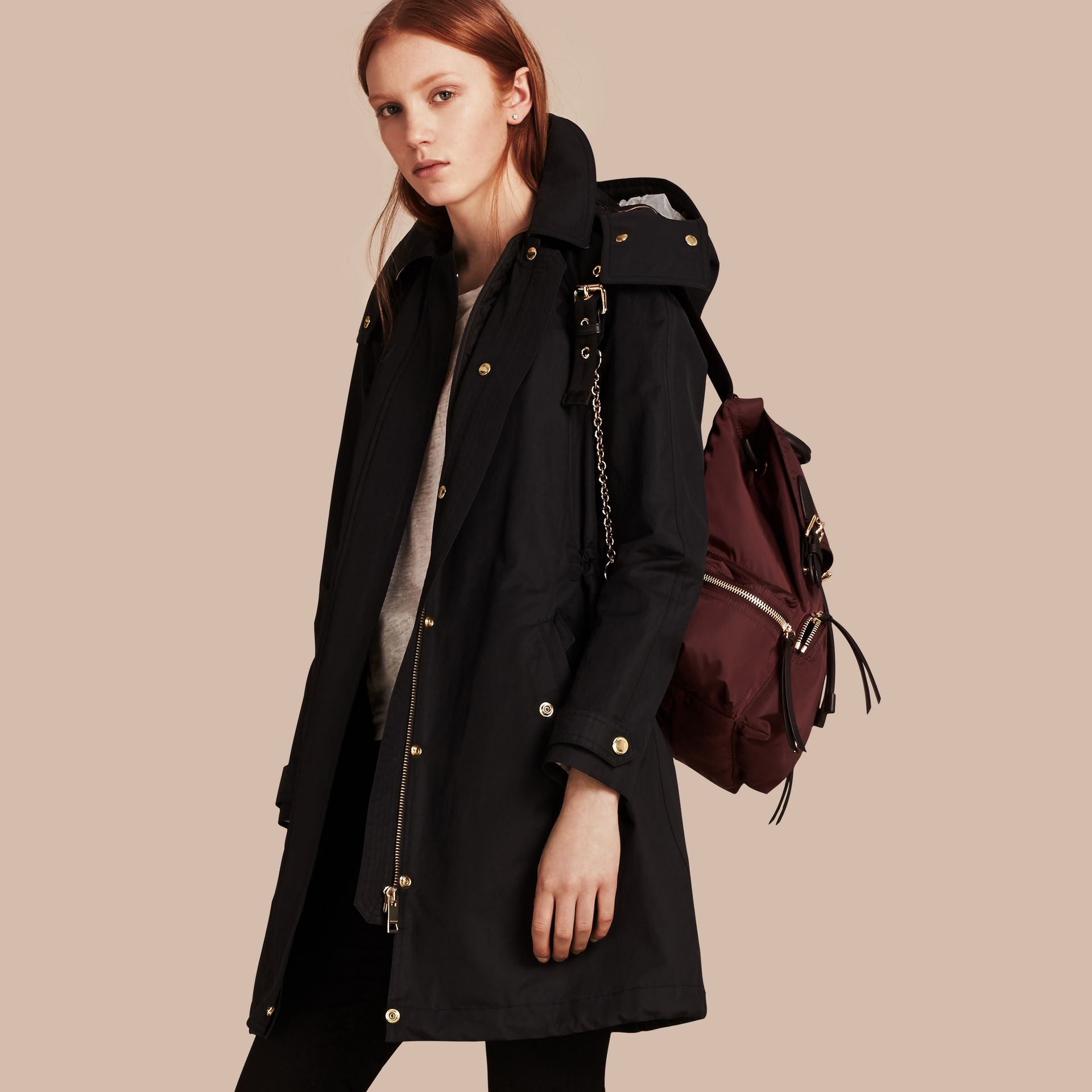 Hooded Cotton Blend Parka with Detachable Warmer in Black - Women | Burberry - gallery image 1