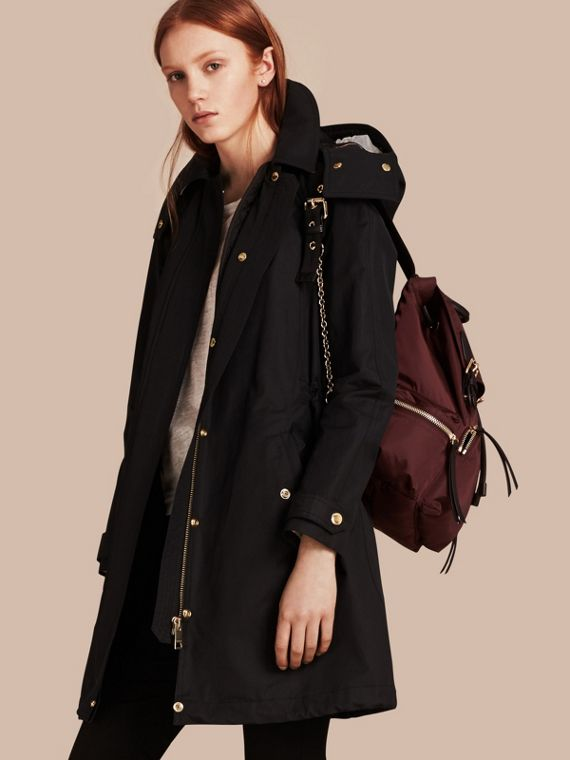 Hooded Cotton Blend Parka with Detachable Warmer in Black