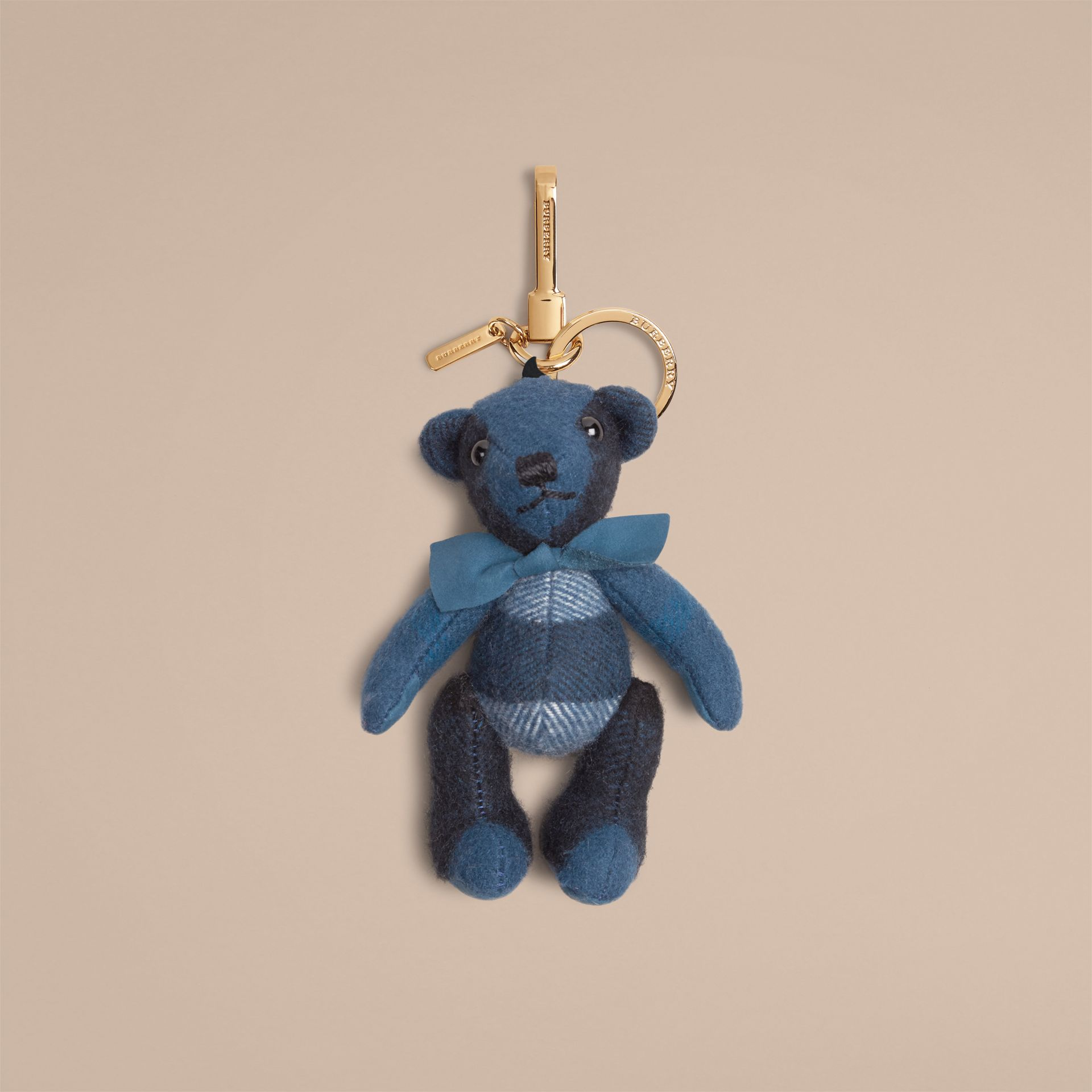 Marine blue Thomas Bear Charm in Check Cashmere Marine Blue - gallery image 1