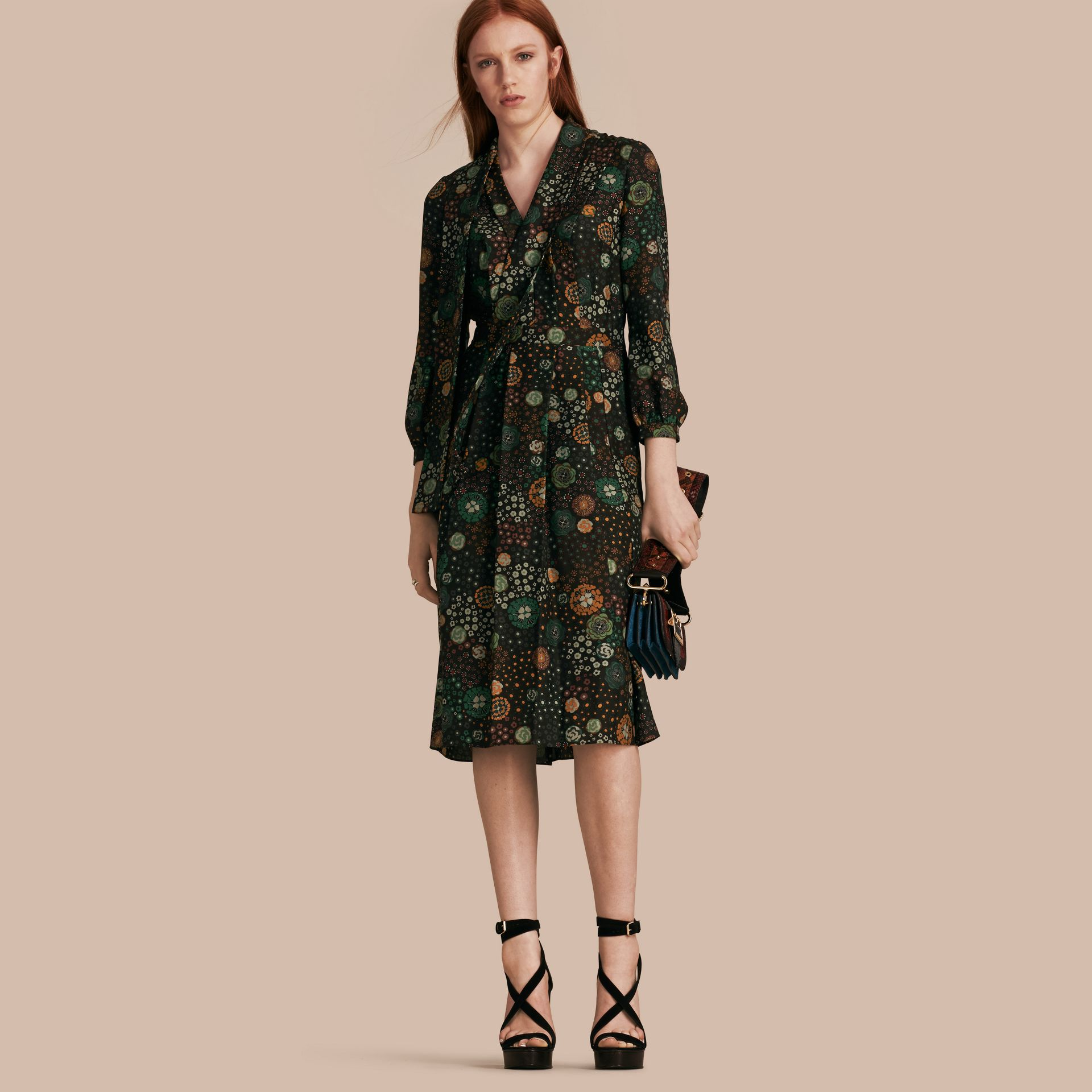 Pigment green Floral Silk Dress - gallery image 1