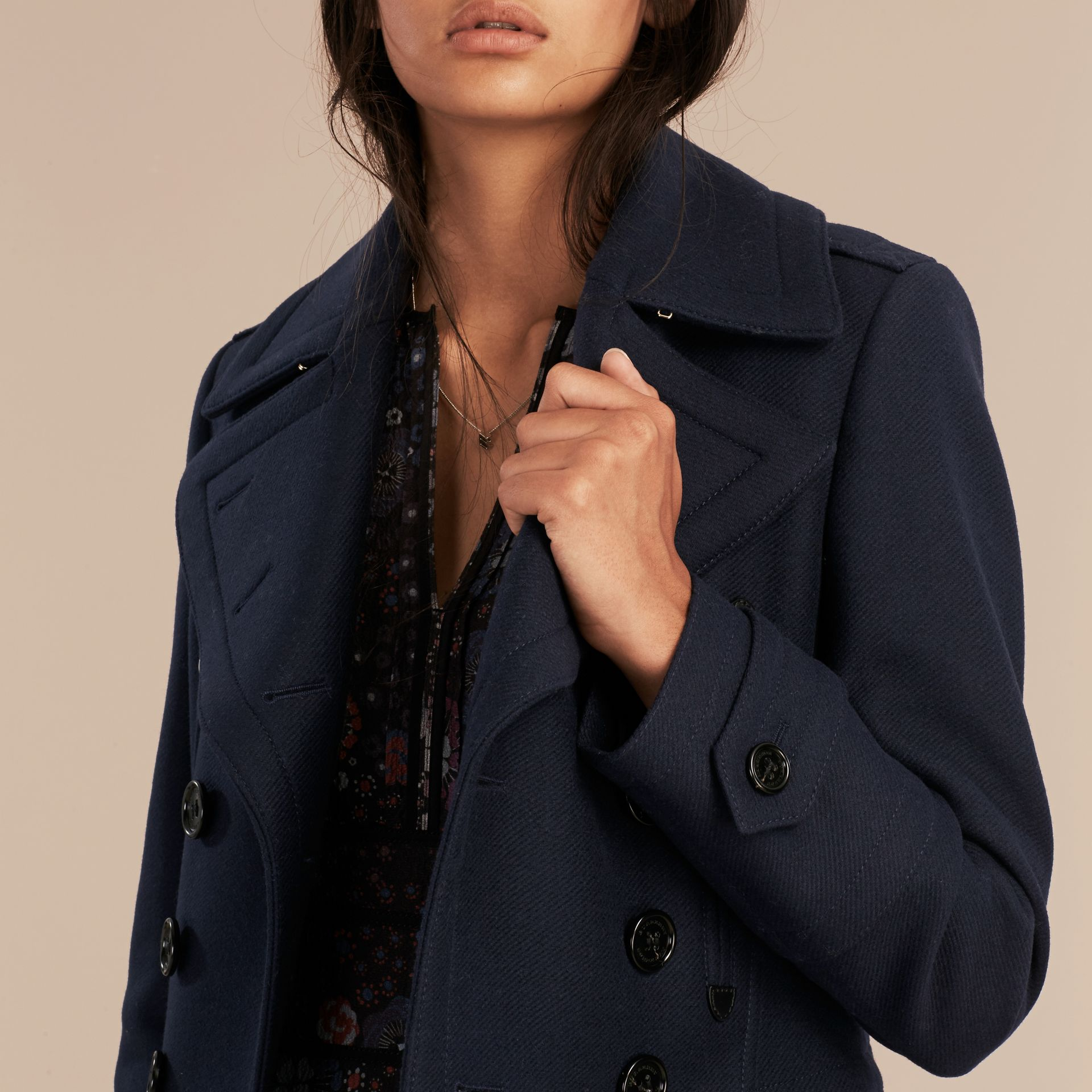 Navy Wool Cashmere Blend Military Pea Coat - gallery image 5