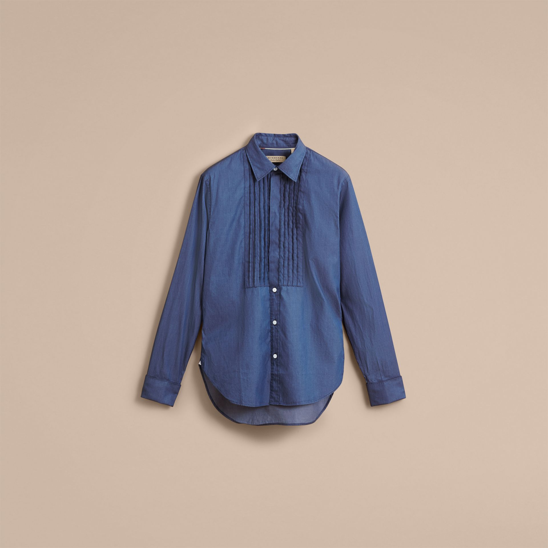Unisex Double-cuff Pintuck Bib Cotton Shirt in Denim Blue - Women | Burberry - gallery image 4