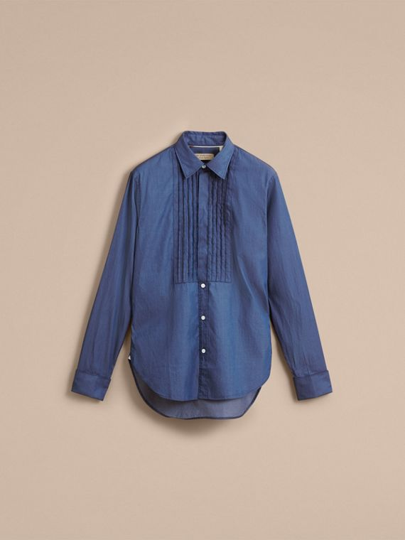 Unisex Double-cuff Pintuck Bib Cotton Shirt in Denim Blue - Women | Burberry Singapore - cell image 3