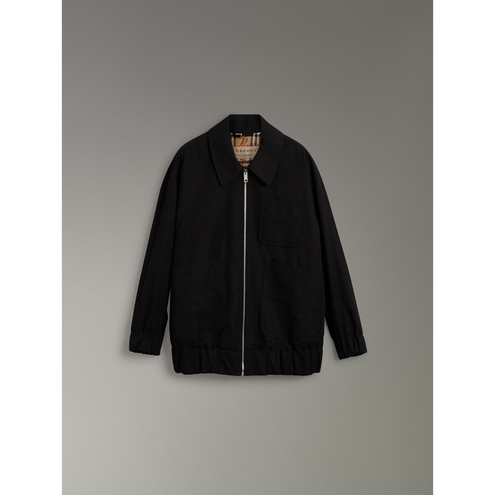 Tropical Gabardine Harrington Jacket in Black - Women | Burberry - gallery image 3