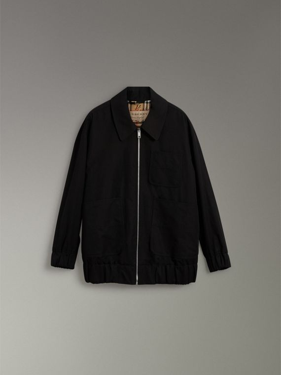 Tropical Gabardine Harrington Jacket in Black - Women | Burberry United States - cell image 3